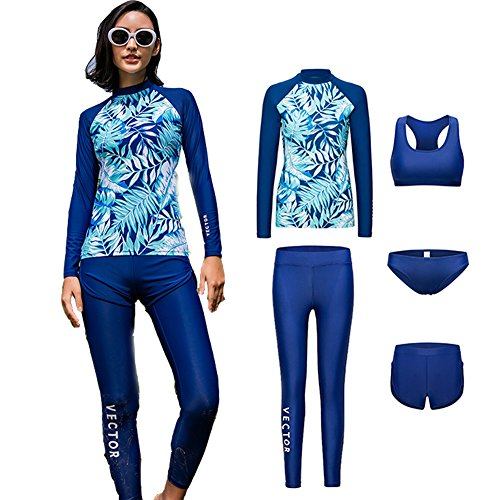 VECTOR 5Pcs Women Long Sleeve Wetsuit Swimsuit Shirt Printed Surfing Pants Diving Snorkeling Suits UPF 50+ UV Sun Protection (Green, M)