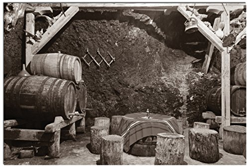 """JP London Solvent Free Poster Art Print SPAP2219 Ready to Frame Bootlegging Wine Cellar Black and White Bordeaux At 11"""" h by 17"""" w"""