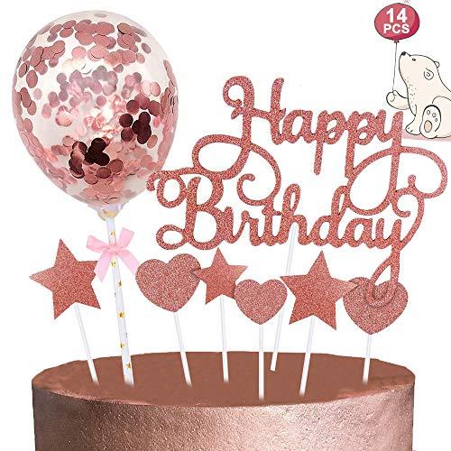 Rose Gold Cake Topper, Happy Birthday Cake Toppers/Confetti Ballon Heart Star Cake Toppers voor Gelukkige Verjaardag…
