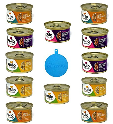 Nulo Freestyle Grain Free Shredded Cat Food in 3 Flavors - Chicken & Duck, Beef & Rainbow Trout, and Turkey & Halibut - 12 Cans Total, 3 Oz Ea - Plus 1 Silicone Cat/Dog Food Can Cover - 13 Items Total