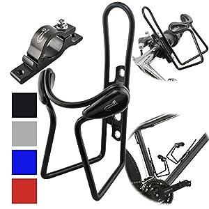 Lumintrail Bike Bottle Holder w/ Handlebar Mount Adapter lightweight aluminum alloy bicycle water cage (Black)