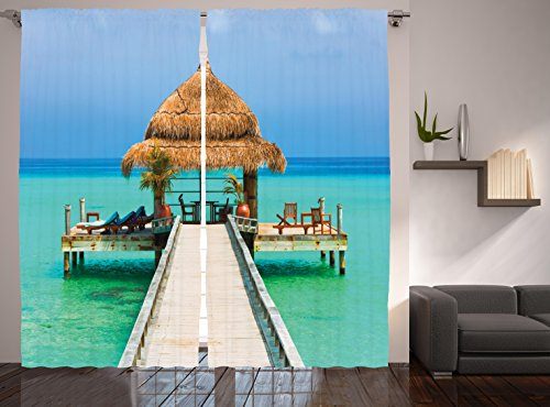 Cheap Ambesonne Digital Print Curtains Bedroom Living Room Decorations Summer Home Decor Beach Design Palm Trees Maldives Curtain Two Panels Set 108 Inches By 84 Inches, Blue Green Brown