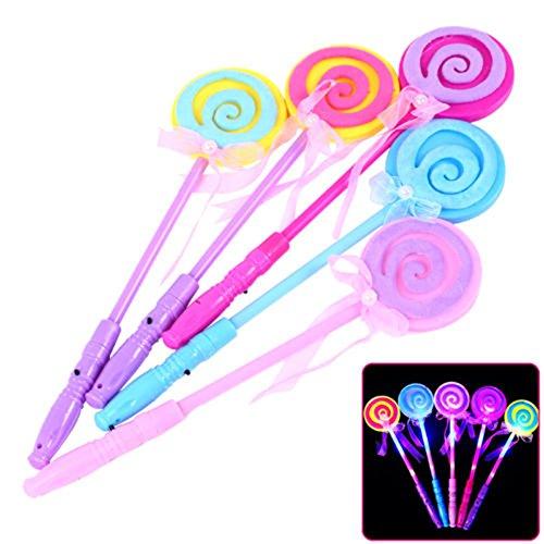 Ameesi LED Light up Flashing Fairy Magic Wand Princess Lollipop Stick Girl Xmas Gift