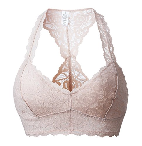 SHAPERX Women's Floral Halter Lace Bralette Racerback Padded Removable Cups Wireless Lingerie Bra Crop Top,SZ8333-Pink-M
