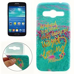 Words Flower Pattern Protective Case Cover Carcasa de TPU Para Samsung Galaxy Core 4G G386/G386F