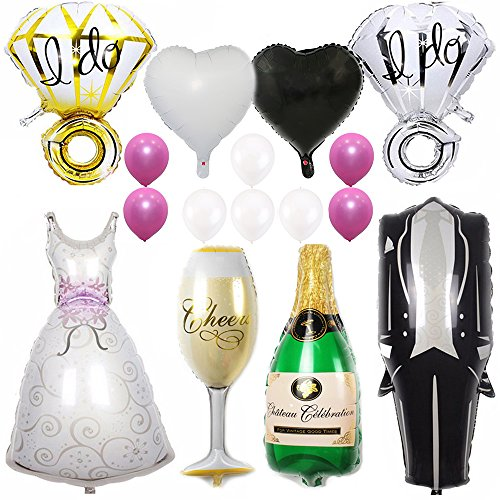 Ezing 40inch Groom Bride Wedding Dress Foil Balloon, 28inch Diamond Ring and 18inch Heart Balloon for Wedding Party Bridal Room Decoration (F)]()