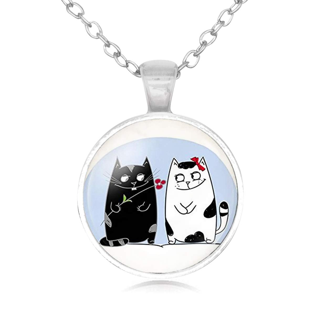 Family Decor Cute Cat Lovers Girl Friend Best Pendant Necklace Cabochon Glass Vintage Bronze Chain Necklace Jewelry Handmade