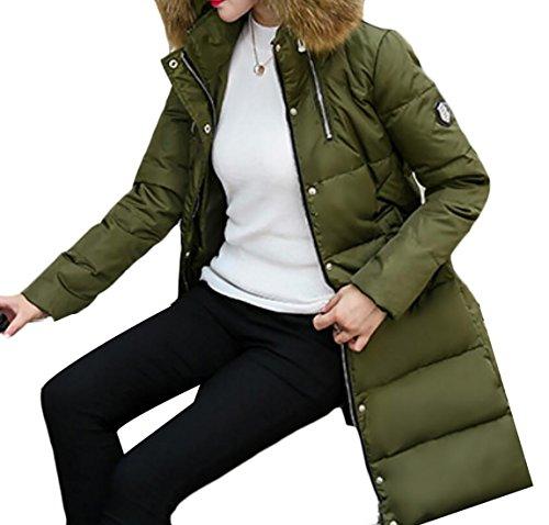 Puffer Army Collar Sleeve Jackets Women's Warm Down Green Generic Fur Long Y46Rxqw
