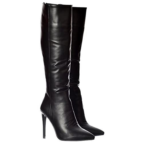 46b693379fd Onlineshoe Women s Ladies Stiletto Heel Pointed Toe Knee High Boots - Black