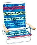 Rio Brands Paradise Awaits Palms Stripe 5 Position Classic Lay Flat Beach Chair, Blue