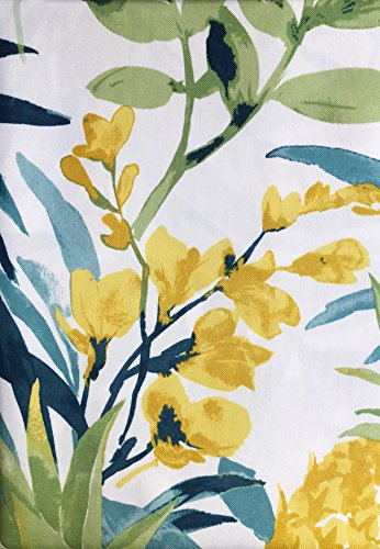 Indoor Outdoor Living Easy Care Tablecloth Floral Pattern in Shades of Blue Green Yellow on White, 60 Inches by 84 (Floral Pattern Shade)