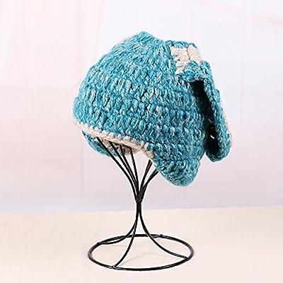 Automne et hiver nouvelle Ultra Meng A Oreilles tricoter longtemps femmes Version coréenne de Sweet Belle gestrickte PAC Épaisseur chaud Bonnet Tide, Die blaue, taille unique