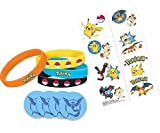 Pokemon Party Favor Set, 4 Wristbands, 16 Tattoos and 4 Pins (1.5 inches) Go Gear for Trainers - Team Blue, Mystic, - Pokemon Gift Set