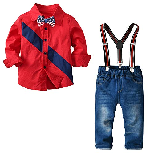 Nwada Little Boys Clothes Sets Bow Ties Shirts + Suspenders Pants Denim Jeans Toddler Boy Gentleman Outfits Suits Red 1-2 Years