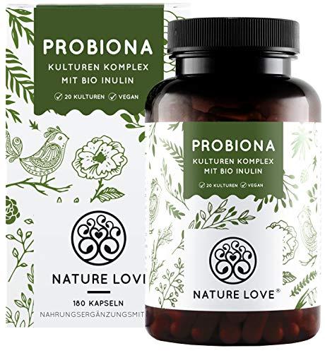 Probiona Komplex - 20 Bakterienstämme + Bio Inulin - 180 magensaftresistente DRCaps® Kapseln - 2X hochdosiert: 20 Mrd KBE je Tagesdosis - Vegan, hergestellt in Deutschland