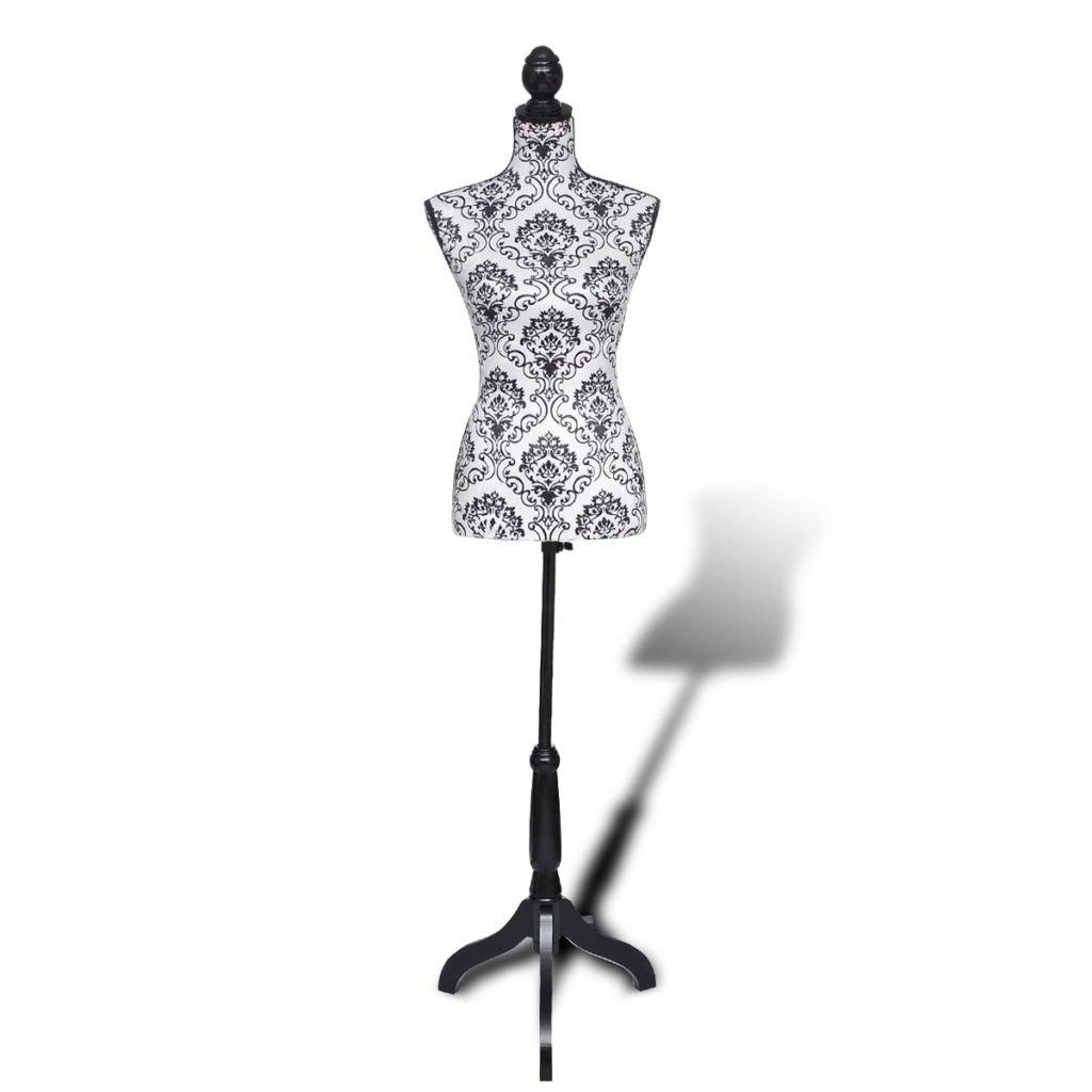 vidaXL Lady Mannequin Bust Window Torso Dress Form Display Black/White w/Tripod Stand