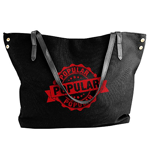 Price comparison product image EJudge Most Popular Sign Fashion Ladies Canvas Shoulder Black Travel Handbag
