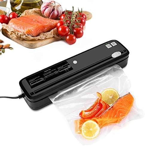 Vacuum Sealer, Automatic Vacuum Sealing Machine with Cutter for Food Saver, 3pcs Vacuum Sealer Bags Black