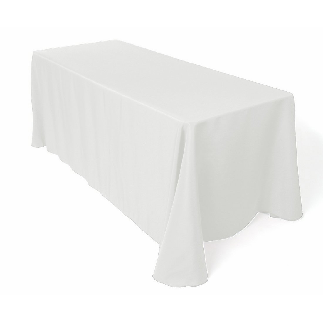 Gee Di Moda Rectangle Tablecloth - 90 x 132'' Inch - White Rectangular Table Cloth for 6 Foot Table in Washable Polyester - Great for Buffet Table, Parties, Holiday Dinner, Wedding & More by Gee Di Moda