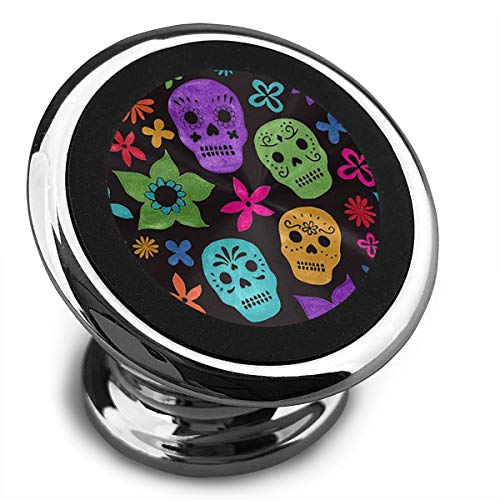 FISHISOK Magnetic Car Phone Mount Holder Halloween Wallpaper Skull Deluxe Car Mobile Bracket 360 Degrees Rotation from Dashboard Compatible with iPhone Samsung,etc -