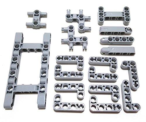 Juego de conectores y vigas especiales LEGO Technic gris LB (18 piezas)