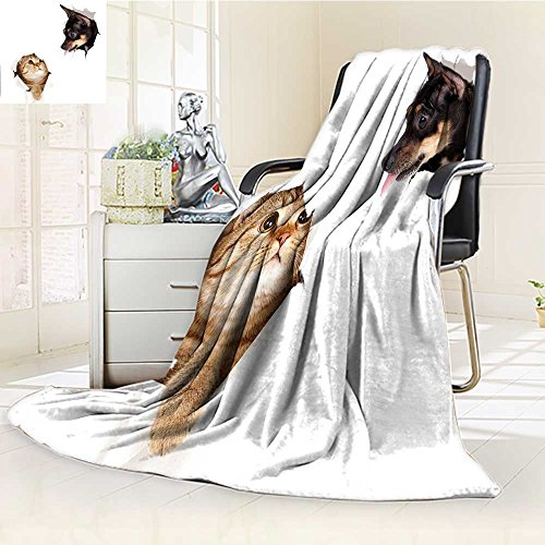 YOYI-HOME Duplex Printed Blanket Warm Microfiber Cat and Dog in Paper Side Torn Holes Funny Kitten and Puppy Photo Print White Black and Brown for Bed or Couch/W47 x H79