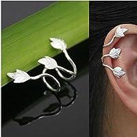 2X No Piercing Silver Plated Leaf Clip On Ear Cuff Earring Wrap Punk Rock a61