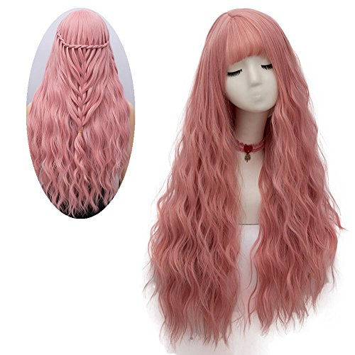 (netgo Women's Pink Wig Long Fluffy Curly Wavy Hair Wigs for Girl Heat Friendly Synthetic Cosplay Party)