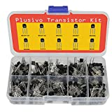 BJT Transistors Assortment Kit - Set of 210 PNP and NPN Assorted Transistors with 250 Assorted Resistors - Bipolar Transistor Pack with 2N3904 2N3906 S8050 2N2907 S8550 2N2222 BC337 C1815 BC327 A1015