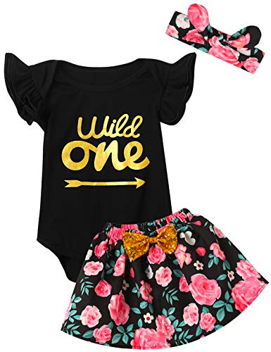 Baby Girls Floral 1st Birthday Outfit Set Wild One Skirt (18-24 Months, Black05)
