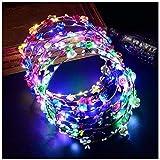LED Flower Crown, Coxeer Led Flower Wreath Headband Luminous 10 Led Flower Headpiece Flower Headdress For Girls Women…