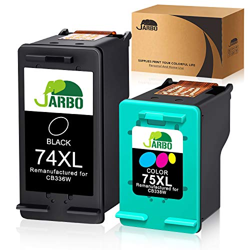 JARBO Manufactured Ink Cartridge for HP 74 75, HP 74XL 75XL, 1 Black+1 Tri-Color, Use with HP Officejet J6480 J5780 Deskjet D4260 D4360 Photosmart C4280 C5280 C4480 C4580 C4385 C5580 (C4580 Hp Ink Photosmart)