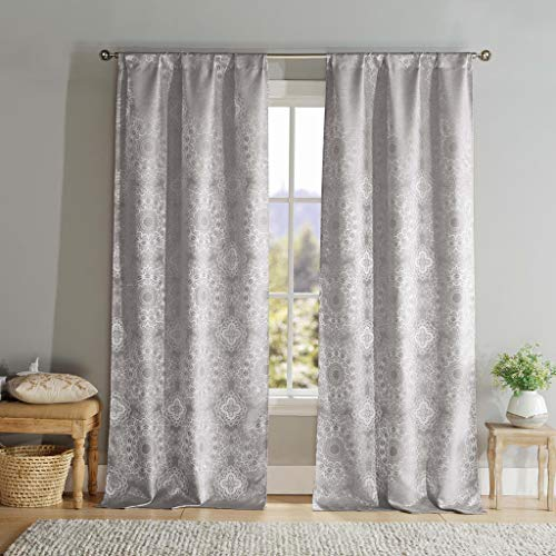 - DUCK RIVER TEXTILES - Paisley Pole Top Window Curtain 2 Panel Drape Set Elsa, 39 X 96 Inch, Steel Grey