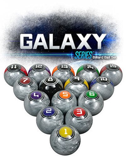 McDermott Galaxy Series Professional Billiards Pool Balls in High Gloss Metallic Silver Texture