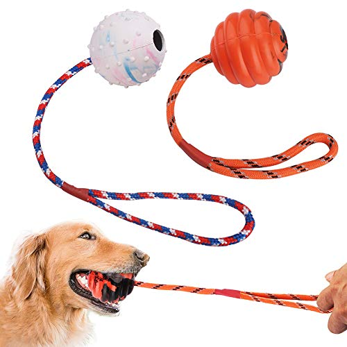 (PrimePets 2 Pcs Dog Ball on Rope, Solid Rubber Rope Ball for Dog Training, Tug Ball Toy for Medium and Large Dog, Tough Rope Toy,Non-Toxic and Durable Dog Toys)