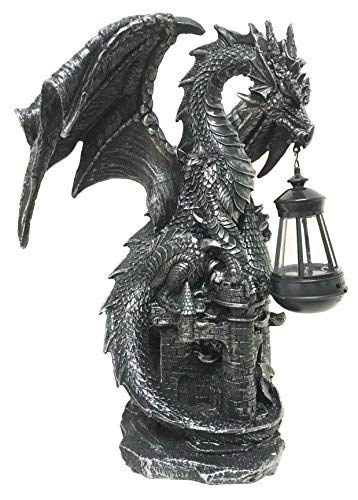 Ferocious Dark Beacon Dragon Guardian of Styx Castle Gate Statue With Solar LED Light Patio Pathways and Indoor Night Light (Ornament Sleeping Dragon Garden)