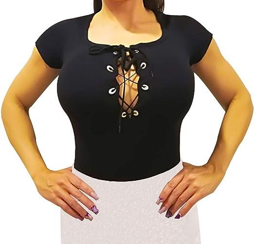 Body para Mujer Manga Corta. Body Camiseta Manga Corta para Combinar con Falda (Escote Negro): Amazon.es: Ropa y accesorios