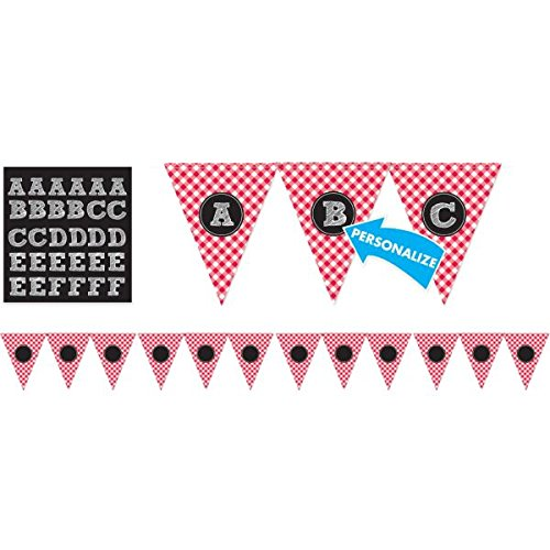 Amscan Classic Picnic Party Gingham Personalized Pennant Banner Hanging Decoration, Red/White, 12 x 9.6 by Amscan (Image #1)