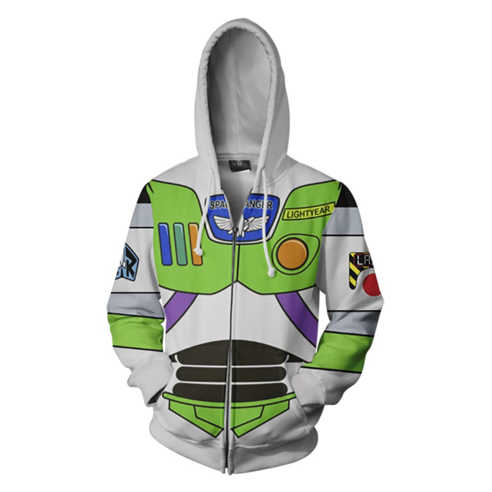VOSTE Anime Cartoon Cosplay Buzz Hoodie 3D Printed Zipper Jacket (XX-Large, Color 1)