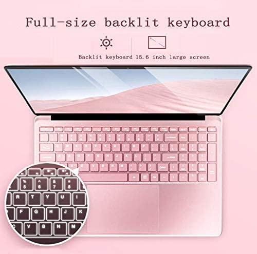 【8GB/Office 2010】 15.6-inch Large Screen Luminous Keyboard high-Performance Laptop J3455 Quiet CPU Wireless LAN 6-Hour Continuous use Windows10 Standard Laptop by Smart US (64G, Rose Gold) 51BwT2KYoRL