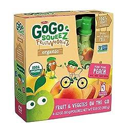 Gogo Squeez Organic Fruit & Veggiez Go Pedal Pedal Peach 3.2 Oz