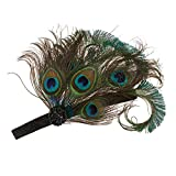 Dovewill Flapper Girls Headband Peacock Feather Hair Accessory for Wedding Prom Dress