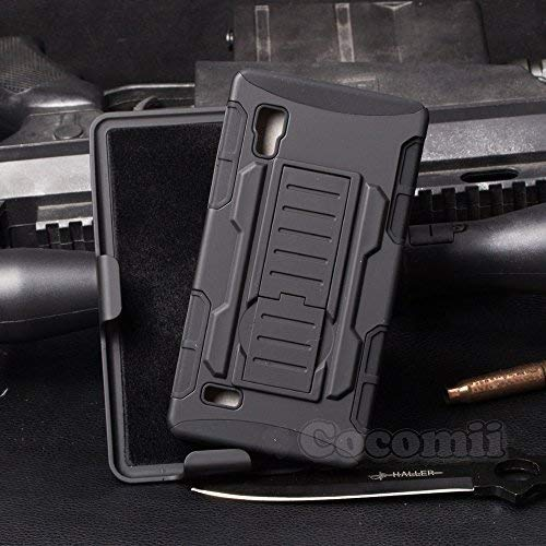 Cocomii Robot Armor LG Optimus L9 Case New [Heavy Duty] Premium Belt Clip Holster Kickstand Shockproof Hard Bumper [Military Defender] Full Body Dual Layer Rugged Cover for LG Optimus L9 (R.Black) (Lg L9 Case With Clip)