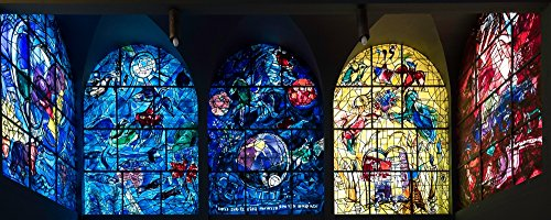 Posterazzi Poster Print Collection Stained Glass Chagall Windows At Hadassah Medical Centre Jerusalem Israel Panoramic Images, (30 x 12), Multicolored Chagall Stained Glass Windows
