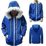#3: Men Women Sans Cosplay Blue Jacket Plush Hooded Coat Sans Costume Hoodie Jacket Coat COS Jacket Sweatshirts