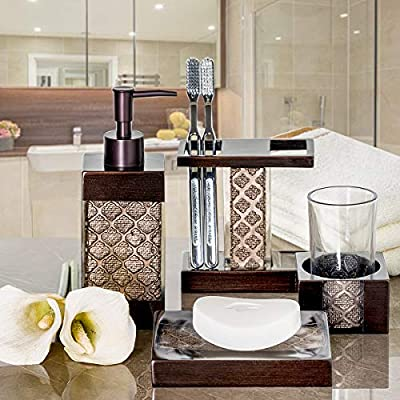 Dahlia 4 Piece Set, Toilet Brush and Trash Can