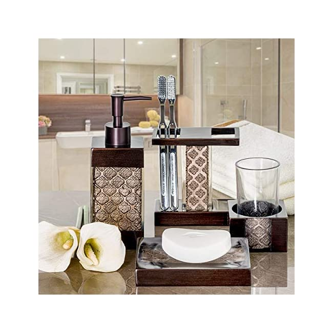 Stupendous Dahlia 4 Piece Bathroom Accessories Set Decorative Bath Accessory Kit With Soap Dispenser Toothbrush Holder Soap Dish And Tumbler Beutiful Home Inspiration Ommitmahrainfo
