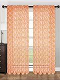 Orange Sheer Voile Lattice Printed Window Curtain Panel, 55''X84'', Lucy, 1 Panel