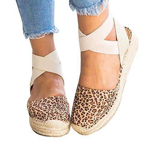 (Kathemoi Womens Espadrille Wedge Sandals Closed Toe Slingback Strappy Mid Heel Platform)