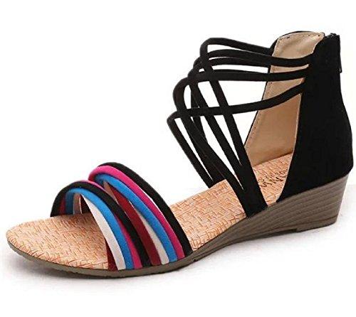 Kuro&Ardor Sandals for Women Gladiator Wedge Low Heel Comfort Shoes Summer Zipper Back Zip (7.5 B (M) 25cm, Black)